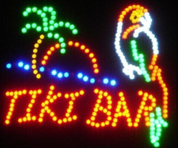 Wholesale Led Tiki Bar - 2016 Parrot Tiki Bar Neon LED Flashing Sign with Palm Tree and Ocean 19 x 19