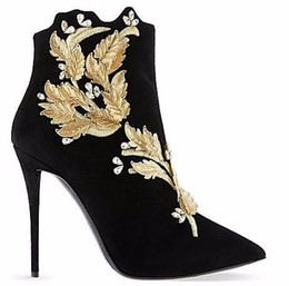Wholesale Black Diamond Ankle Boots - 2016 sexy nightclub handmade black suede Stiletto heels pointed toe women short boots diamond embroidery leaves banquet shoes