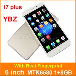 Wholesale Smart Case Front Back - YBZ 7 Plus 6 inch quad core MTK6580 1G 8GB 3G Smart phone Android 6.0 960*540 Dual SIM camera 5MP WCDMA Unlocked Fingerprint smart wake case