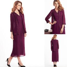 Wholesale Women Long Dresses Sale - Hot Sale Grape Chiffon Mother Of Bride Dresses With Coat Long Sleeves Appliques Tea Length Plus Size 2016 Elegant Women Formal Evening Gown