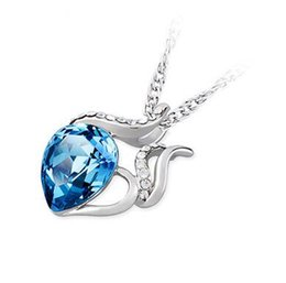 Wholesale Charming Aquamarines - Blue Austrian Crystal Pendant Jewelry 925 Silver Necklace Chinese Occident Style Love Charm Aquamarine Swarovski Elements NO CHAIN DHL