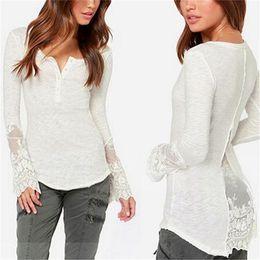 Wholesale Long Slimming Blouses - Fashion Women Clothes Blouse Slim Long Sleeve Large Size T-Shirts V-Neck Cotton Slim Large Size Lace ButtonLadies Garment
