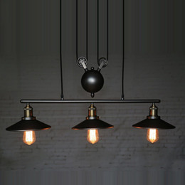 Wholesale Vintage Antique Kitchen - RH Lighting Retro Iron Pulley Pendant Light Loft American Vintage Industrial Pulley Rope Antique Edison Bulb Pendant Lamps Dining Room Bar