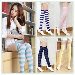 Meias altas do joelho das meninas quentes on-line-Atacado-Moda meias das mulheres Meninas meias Meias de algodão meias altas meias listradas sobre o joelho venda quente A0374
