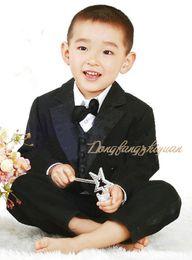 Wholesale Children Bow For Suits - Free shipping new kids tuxedo for boy suit child clothing boys flower girl dress vest style 5 pcs  set