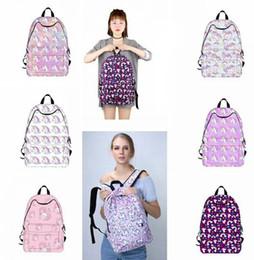 Wholesale Cute Bags For Girls Travel - Women Backpacks Printing Unicorn Pink Girls Schoolbags Cute Gift for Teenagers Travel Camping School Backpack Rainbow Bag KKA2881