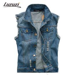Wholesale Denim Vests For Men - Fall-Men Summer Denim Vest Sleeveless Wasitcoat Jacket For Male Outwear Jean Vest Coat Clothing YY519