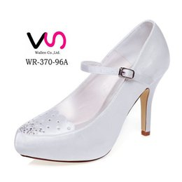 Wholesale High Heel Platform Mary Jane - 10cm heel Ivory Color Platform Pump Style Mary Jane Bridal Shoes Wedding Dress Shoes Handmade Shoes for Wedding Prom Party Shoes Rhinestones