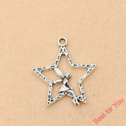 wholesale fairy charms Coupons - new 50pcs Tibetan Silver Tone Star Angel Girl Fairy Charms Pendants Jewelry Diy 30x25mm jewelry making