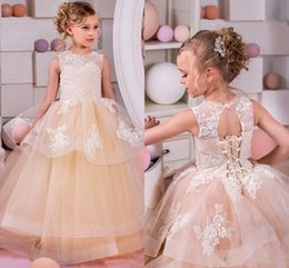Wholesale Open Back Ruffled Wedding Dresses - Spring Summer Flower Girls Dresses For Weddings Jewel Tiered Tulle Lace Appliques Girls Pageant Dress Open Back Lace Up Kids Birthday Gown