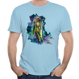 Wholesale Images Abstract - Painting 3D print mens tee shirt abstract style men short sleeved t-shirts dreamlike image design for man Horse Chained Beauty