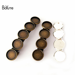 Wholesale Hair Clips Blanks - BoYuTe 20Pieces Cabochon Base 12MM Hair Clip Blank 6 Colors Plated DIY Hair Accessories Women's Hair Jewelry