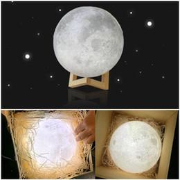 Wholesale Led Color Changing Snowman - Hot 8-20cm Diameter 3D Print Moon Lamp USB LED Night Light Moonlight Gift Touch Sensor Color Changing Night Lamp dropshipping
