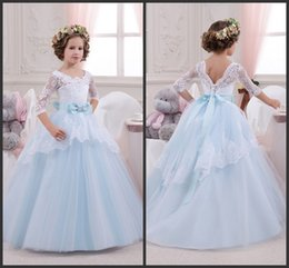 Wholesale Holiday Princess Dresses - White and Blue Lace Girl Dress Birthday Wedding Party Holiday Bridesmaid 14 Years Old Tulle Lace Flower Girl Dresses
