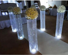 Wholesale Crystal Chandeliers For Wedding Decorations - new style sliver metal crystal stages pillars crystal chandelier centerpieces for wedding decoration