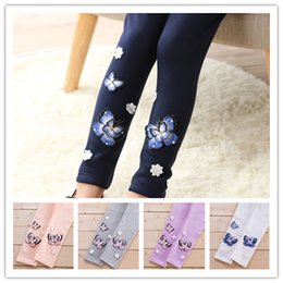 Wholesale Embroidery Leggings - Girls cotton embroidery leggings Spring Autumn 3D butterfly embroidery legging cute baby legging 5colors 6sizes