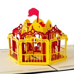 Wholesale Kids Carousel - 3D Carousel design Handmade greeting cards Thanksgiving birthday cards suit for friend kids 10pcs lot free shipping