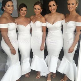 Wholesale Cheap Sexy White Stretch Dress - Cheap Long Mermaid Bridesmaids Dresses 2017 Sexy Off the shoulder Backless Maid of Honor Dress Stretch Satin White Party Wedding Gowns