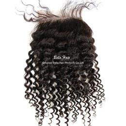 Wholesale Malaysian Curly Lace Closure Piece - Curly Lace Closure malaisia Peruvian Indian bresilien couleur naturel 1 Piece cheveux extention livraison gratuit teindre possible
