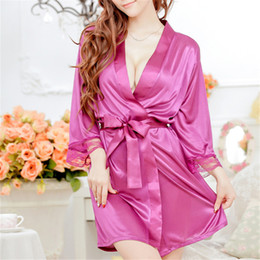 Wholesale Pink Satin Thong - Wholesale-1 Set Women Sexy Lingerie Lace Faux Satin Open Front Belted Bathrobe Nightgown Sleepwear + Thong