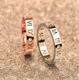 Wholesale Roma Ring - Top quality 316L Stainless steel Roma numbers Couples Ring for women and man set with crystal