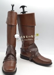Wholesale Rapunzel Tangled Cosplay - Wholesale-Tangled Rapunzel Flynn Rider pu leather ver cos Cosplay Shoes Boots shoe boot #JZ640 anime Halloween Christmas