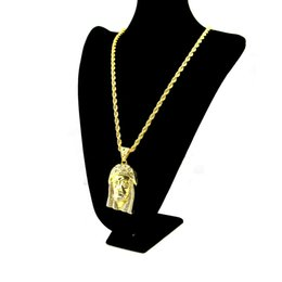 pendant pieces for men chains Coupons - 18K Gold Plated JESUS Christ Piece Head Face Hip Hop Pendant Necklace Charm Chain For Men and Women Trendy Holiday Accessories