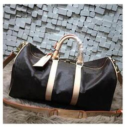 Wholesale brown leather luggage - Top quality Men Travel Bag Women Duffle Bags Luggage cowhide oxidize leather vintage keep ALL size 60cm Handbags with lock and key