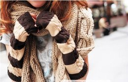 Wholesale Korean Half Finger Gloves - 2016 fashion Winter Korean lady knitting gloves double color warm half finger gloves arm sleeve for women,ST008