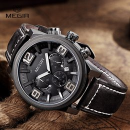 Wholesale Cool Military Watches - 2016 new fashion military MEGIR brand chronograph men male army cool clock sport leather strap luxury wrist watch best gift 3010
