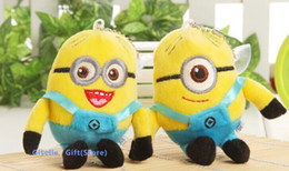 Wholesale Despicable Stuffed - Kawaii 2Pair Despicable ME Yellow Minions 11*6CM Plush Stuffed Keychain TOY & BAG Pendant TOY BAG Wedding Bouquet TOY Gift DOLL