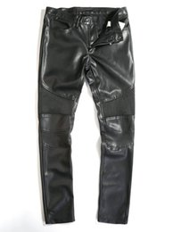 Wholesale Leather Pants 44 - Wholesale-2015 Fashion Autumn Winter Man Black Knee Patches Quilted lONG Leather Pants Men Biker Trousers size 36 to 44