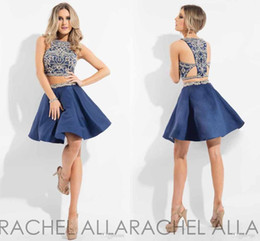 Wholesale White Navy Cocktail Dress - 2017 Rachel Allan Two Piece Homecoming Dresses Major Beading Jewel Neck Crystal Beaded Navy Blue Pink White Short Cocktail Party Gowns