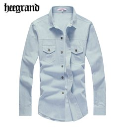 Wholesale Men S Washed Denim Shirts - Wholesale-2016 Fashion Cowboy Shirt Men Casual Solid Washed Denim Shirts Male Leisured Jeans-shirt Hombre Camisa Vaquera MCL1556