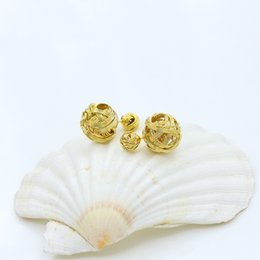 Wholesale exotic earrings - Double Side Ball Earrings Stud Exotic Stylish Metal Braided Hollow Studs Earrings Fashion Jewelry for Women