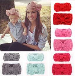 Wholesale Crochet Sets For Infants - 2016 New Mom and Me crochet winter Headband Set fashion women knit headband infant crochet headband Ear Warmer for Girl 1Set=2pcs DHL FREE
