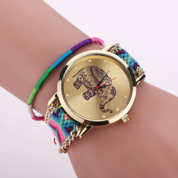 Wholesale Elephant Crafts - The new national wind ms woven bracelet table Han edition delicate DIY craft watches wool elephant watches