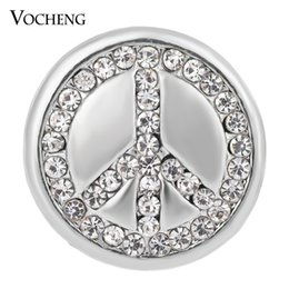 Wholesale Wholesale Peace Jewelry - VOCHENG NOOSA Ginger Snaps Studded Bling Crystal Peace Sign 18mm Button Jewelry Vn-1338