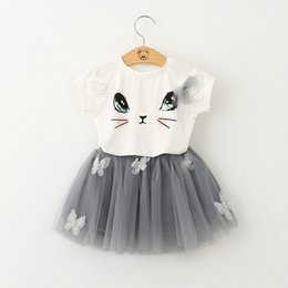 girl babies cute cats Coupons - Baby Girls Cartoon Lace Tutu skirt Sets Cat Top T shirt+Skirt 2pcs sets Infant Summer Short Skirt Suit Children Outfits Free shipping E1014
