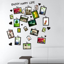 Wholesale Small Plastic Photo Frames - Picture Photo Frame Set Wall Sticker Decal Decor Home Room Office Art DIY Black Gift