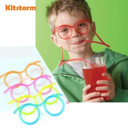Wholesale Hot Party Tube - Hot! Funny Soft Plastic Straw Glasses Unique Flexible Drinking Straws Tube Kids Party Bar Accessories 170928
