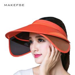 Al por mayor-visor2017 Nueva Visor Retráctil Femenina Verano Sol Vacío  Sombrero Superior Montar UV Sombrero Del Sol Mujer Beach Sun visera Sombrero 5259df2016f