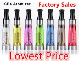 Wholesale Clearomizer W - E Cig Tank CE4 Atomizer Colorful Ce4 Electronic Cigarette Clearomizer With Long Wick 1.6ml Adapter Suit For All eGo-t eGo w Battery Ecigs