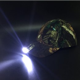 Wholesale Led Lighting For Night Fishing - Night Fishing Caps With LED Lamp Climbing Sports Multi-purpose Head Light Cap For Travelling Hat Camo ACU Black Color