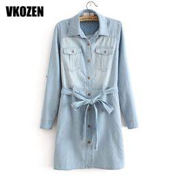 Wholesale Womens Long Denim Dresses - Wholesale- 2017 New Womens Dress Korean Style Women Lapel Long Sleeve Pocket Denim Dress 3M27