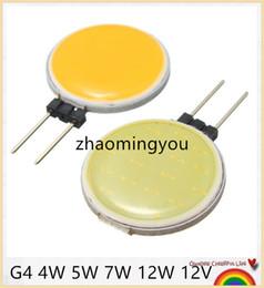 Wholesale G4 Bulb Pure White 12v - YON 10CS Lowest Price G4 COB DC12V 4W 5W 7W 12W Pure Warm White LED 15 18 30 63 Chips Replace Halogen Lamp Spot Light Bulb