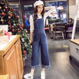 42b274222f5 Wholesale- 2017 Summer Fringed Large Pockets Fashion Boyfriend Loose Girls  Overalls For Women Jumpsuits Denim Casual Jeans Female Pants