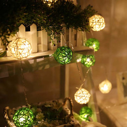 Wholesale Christmas Luminarias - Wholesale- Luminarias 4m LED Battery Rattan Cotton Balls String Lights Lamp Garland Indoor Home Christmas Fairy Wedding holiday decoration