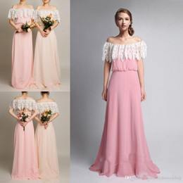 Wholesale Cheap Pretty Bridesmaid Dresses - Pretty Chiffon A Line Pink Long Bridesmaid Dresses 2017 Lace Off The Shoulder Floor Length Zipper Wedding Party Dresses Cheap