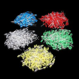 Wholesale Led 3mm Mix - Wholesale- Free Shipping 500Pcs 3MM LED Diode Kit Mixed Color Red Green Yellow Blue White